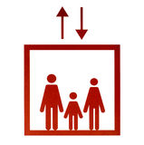 红色电梯标志 免版税库存照片