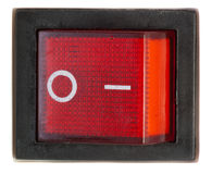 红色电源开关。 免版税库存照片