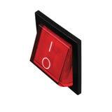 红色电源开关,黑框架在位置上,大详细的垂直隔绝了宏观特写镜头透视 免版税库存图片