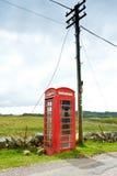 红色电话亭杆苏格兰 免版税库存图片