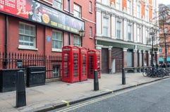 红色电话客舱在伦敦 免版税库存图片