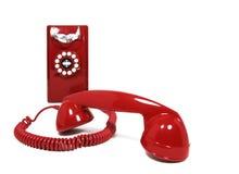 红色电话白色背景 免版税库存照片
