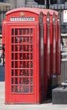 红色电话箱子在伦敦 库存照片