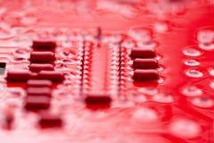 红色电路板 免版税库存图片