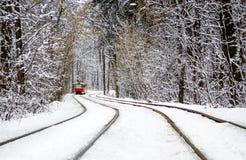 红色电车乘驾通过在用白雪盖的树之间的冬天森林 库存照片