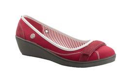 红色画布夫人鞋子 图库摄影