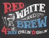 红色白色和酿造7月庆祝第4  免版税库存照片