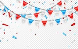 红色白色蓝旗信号诗歌选  蓝色,白色和红色箔五彩纸屑 也corel凹道例证向量 库存例证