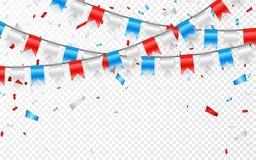 红色白色蓝旗信号诗歌选  蓝色,白色和红色箔五彩纸屑 也corel凹道例证向量 向量例证