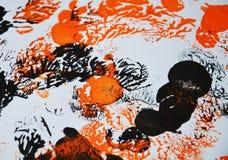 红色白色黑灰色橙色绘画对比,形状,水彩背景 免版税库存照片