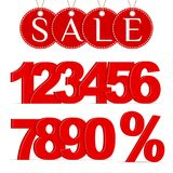 红色百分号、第0-9和销售标签 皇族释放例证