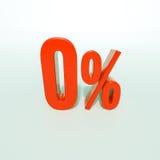 红色百分号零,百分率符号, 0% 库存图片