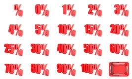 红色百分率符号收藏 3d 免版税库存图片