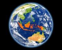 红色的印度尼西亚从空间 免版税库存照片