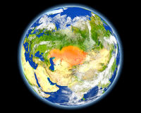 红色的哈萨克斯坦从空间 免版税库存照片