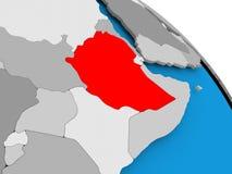 红色的埃塞俄比亚在地图 向量例证