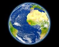 红色的塞拉利昂从空间 图库摄影