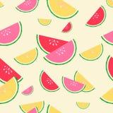 红色的夏天,桃红色和黄色西瓜无缝的样式 库存例证