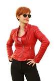 红色的女孩在太阳镜 免版税库存照片