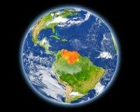 红色的委内瑞拉从空间 库存照片