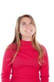 红色的少年白肤金发的女孩 图库摄影
