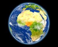 红色的尼日利亚从空间 库存照片