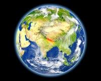 红色的尼泊尔从空间 库存照片