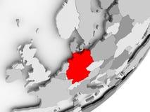 红色的德国在灰色地图 皇族释放例证
