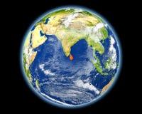 红色的斯里兰卡从空间 库存照片