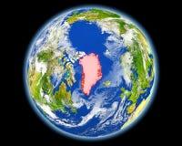 红色的格陵兰从空间 免版税图库摄影