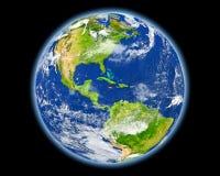红色的牙买加从空间 免版税库存图片