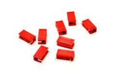 红色的电容器 免版税库存图片