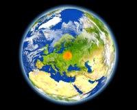 红色的白俄罗斯从空间 库存照片