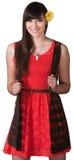 红色的精力充沛的小姐 免版税库存照片