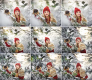 红色的美丽的妇女与棕色毛皮海角享受在森林白肤金发的女孩的冬天风景摆在积雪的分支下 免版税库存照片