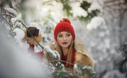 红色的美丽的妇女与棕色毛皮海角享受在森林白肤金发的女孩的冬天风景摆在积雪的分支下 免版税库存图片