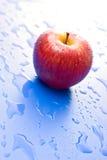 红色的苹果一弄湿了 库存图片