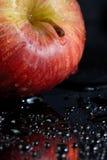 红色的苹果弄湿了 免版税库存照片