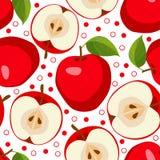 红色的苹果 无缝的模式用苹果 免版税库存照片