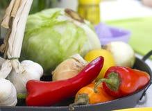 红色的菜-和黄色甜椒胡椒,大蒜,葱, 免版税图库摄影
