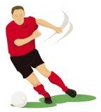 红色的足球运动员 图库摄影