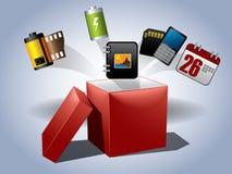 红色的配件箱空的礼品盒盖 图库摄影