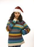 红色的年轻俏丽的非裔美国人的女孩 免版税库存图片