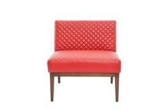 红色皮革和木头扶手椅子现代设计师 免版税图库摄影