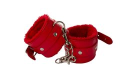 红色皮革手铐 库存图片