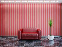 红色皮革扶手椅子 免版税库存照片