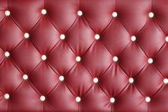 红色皮革纹理扶手椅子 免版税图库摄影