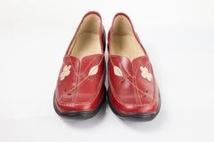 红色皮鞋 免版税图库摄影