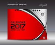 红色盖子桌面日历2017设计模板,排进日程2017年 免版税库存图片