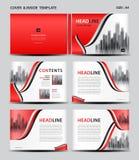 红色盖子设计和里面模板杂志的,广告,介绍,年终报告,书,传单,海报,编目,打印 皇族释放例证
